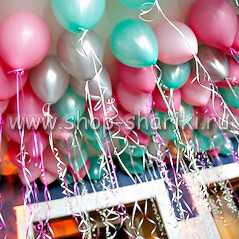 шары серебро тиффани и розовые