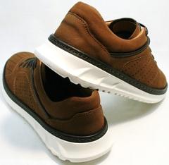 Кожаные кроссовки с перфорацией мужские Vitto Men Shoes 1830 Brown White