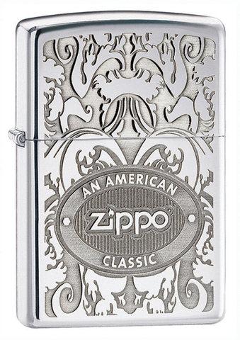 Зажигалка Zippo с покрытием High Polish Chrome, латунь/сталь, серебристая, глянцевая, 36x12x5123