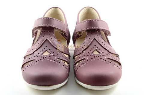 Туфли Тотто из натуральной кожи на липучке для девочек, цвет ирис фиолетовый. Изображение 5 из 12.