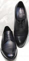 Модельные мужские туфли броги Ikoc 2249-1 Black Leather.