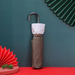 Суперлегкий зонт, ручка крюк, женский, с защитой от УФ, механика, 6 спиц (коричневый с белым кантом)