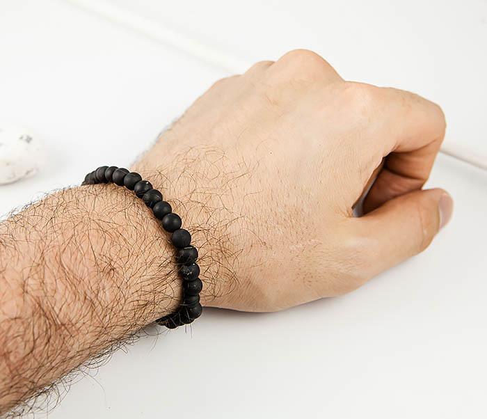 BS524-1 Браслет ручной работы из черного шунгита. «Boroda Design» фото 05