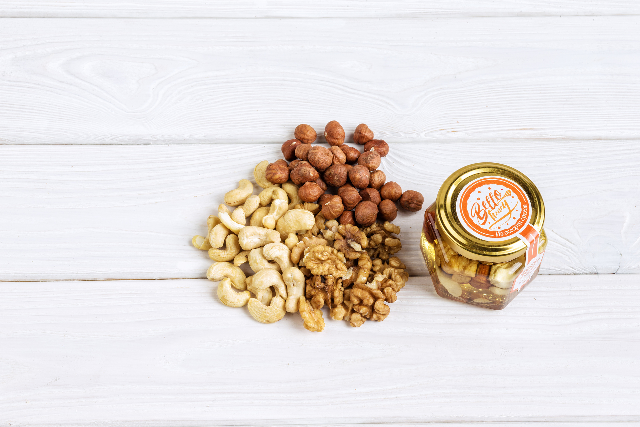 Bellohoney орехи в меду, 120мл