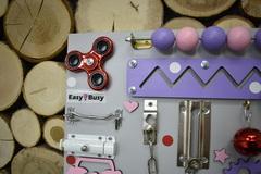 Бизиборд компакт фиолетово-розовый со счетами для девочки