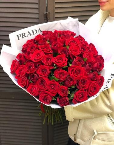 """Букет из 51 красной розы 50 см """"Prada"""" #16221"""