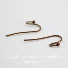 Швензы - крючки c шариком, 21х12 мм (цвет - античная медь), 5 пар