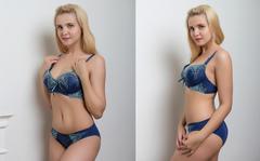 Комплект Женский № 2 011 Узоры Темно-Синий с Голубым