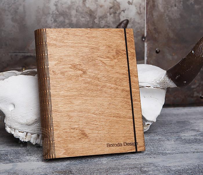 BC133-3 Деревянный блокнот ручной работы со сменным блоком