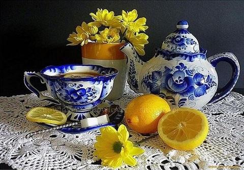 Алмазная Мозаика 30x40 Чаепитие с лимоном (арт. S3307)