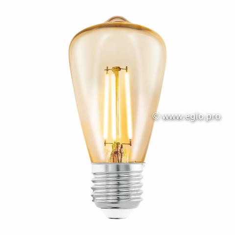 Лампа LED филаментная из стекла янтарного цвета Eglo AMBER LM-LED-E27 3,5W 220Lm 2200K ST48 11553