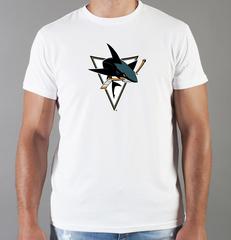 Футболка с принтом НХЛ Сан-Хосе Шаркс (NHL San Jose Sharks) белая 009