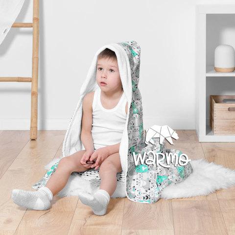 Рушник дитячий банний з капюшоном Warmo™ М'ЯТНІ КОТИКИ 100x100см