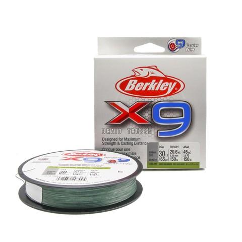 Плетеная леска Berkley X9 150 м. Темно-зеленая 0,20 мм. 13,6 кг.