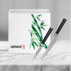 Набор из 2 кухонных ножей Samura MO-V овощной + универсальный и подставки KBH-101BW