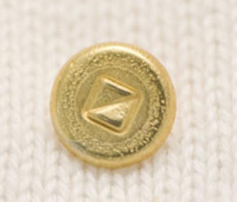 Пуговица золотого цвета, круглая, в центре декор из двух равнобедренных треугольников, на ножке, 10 мм