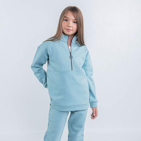 Warm sporty sweatshirt for teens - Sea Blue