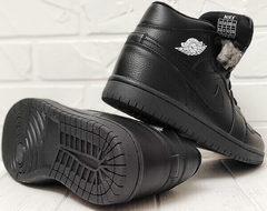 Мужские теплые кроссовки ботинки на плоской подошве Nike Air Jordan 1 Retro High Winter BV3802-945 All Black