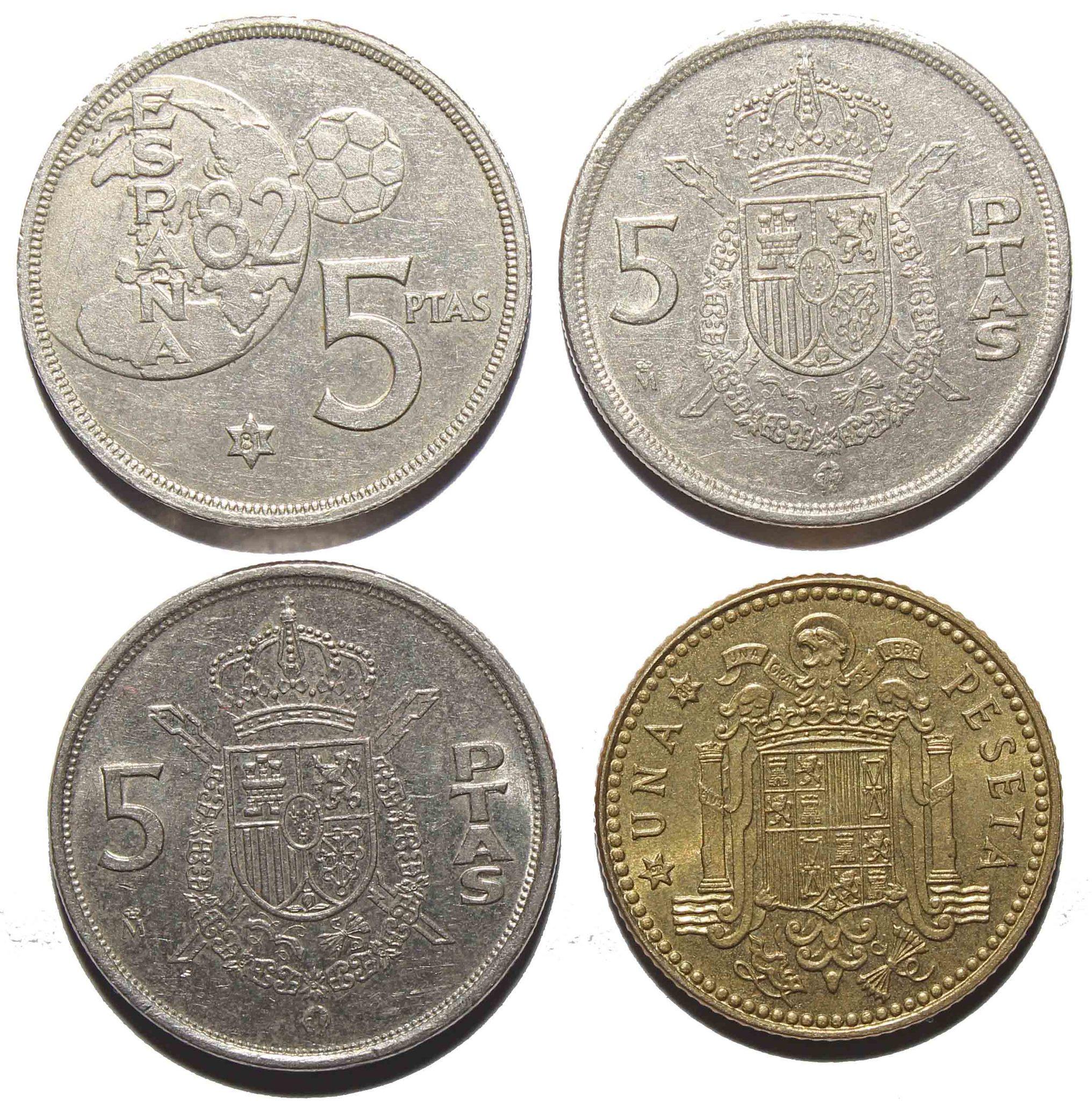Набор из 4 монет 1 и 5 песет Испания. XF №2