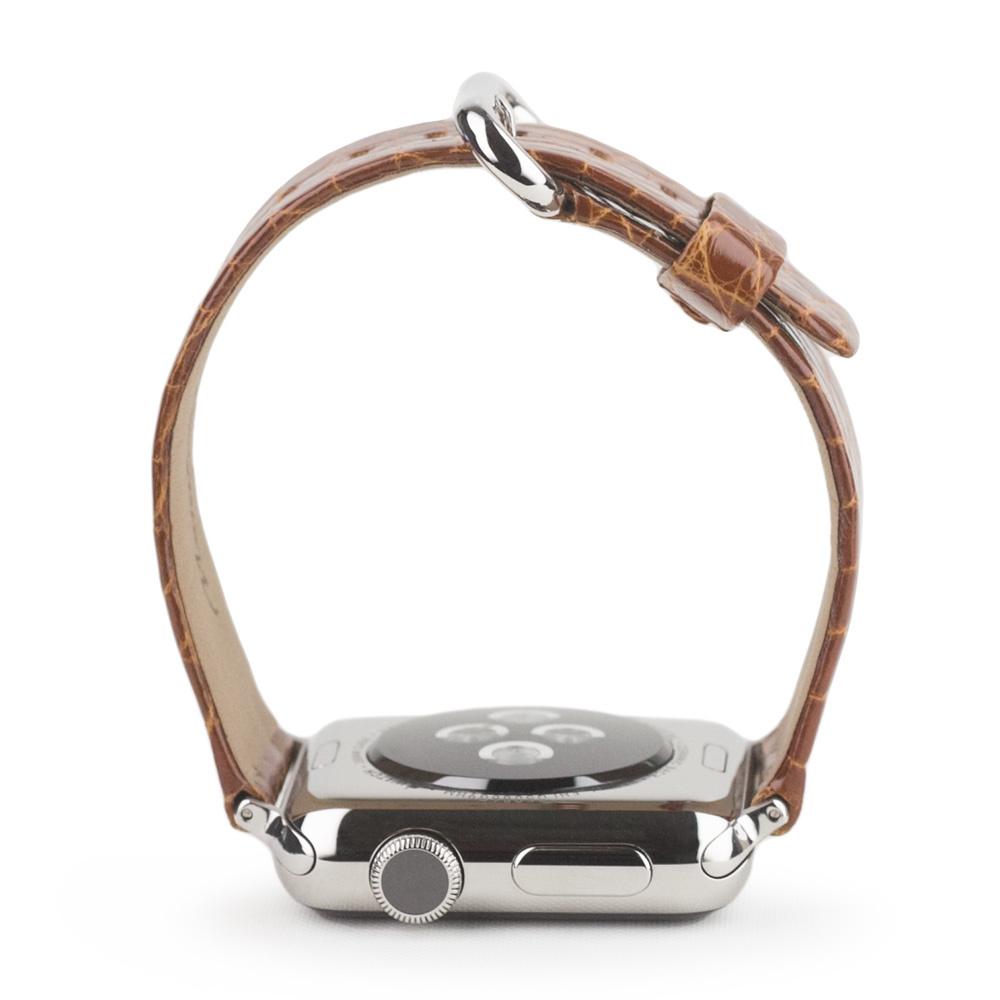 Ремешок для Apple Watch 38/40mm ST Classic из натуральной кожи аллигатора, цвета карамели лак