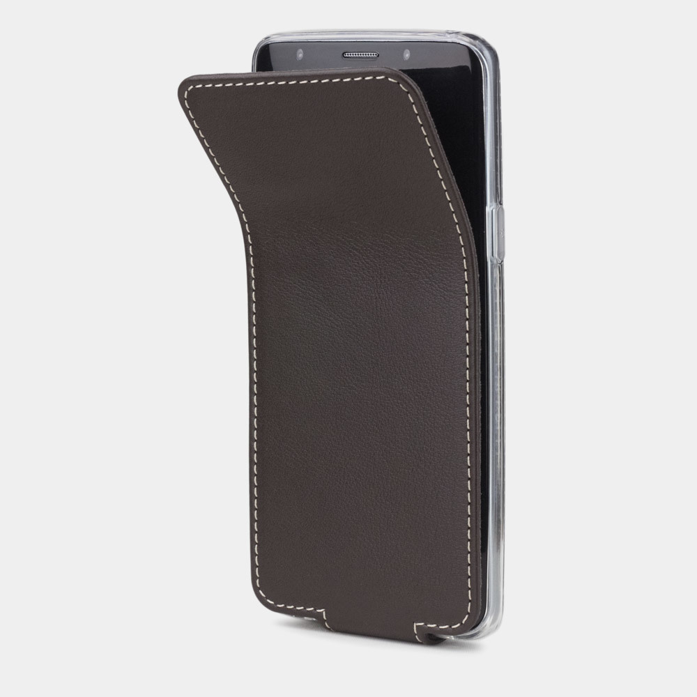 Чехол для Samsung Galaxy S9 из натуральной кожи теленка, темно-коричневого цвета