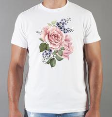 Футболка с принтом Цветы (Розы) белая 007