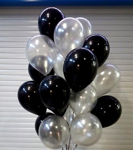 Воздушные шары с гелием Черно-серебряные