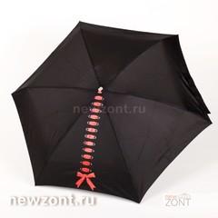 Плоский черный облегченный женский зонт NEX с красным бантом