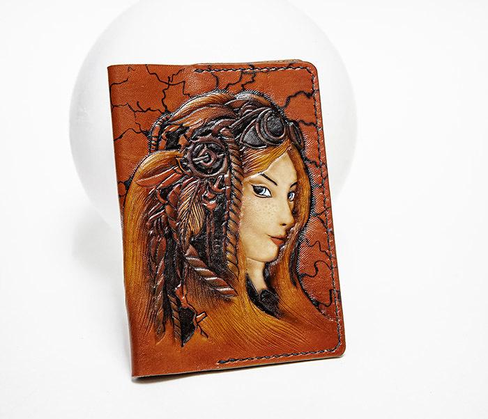 BC232 Прикольная обложка на паспорт в девушкой «Стим Панк»