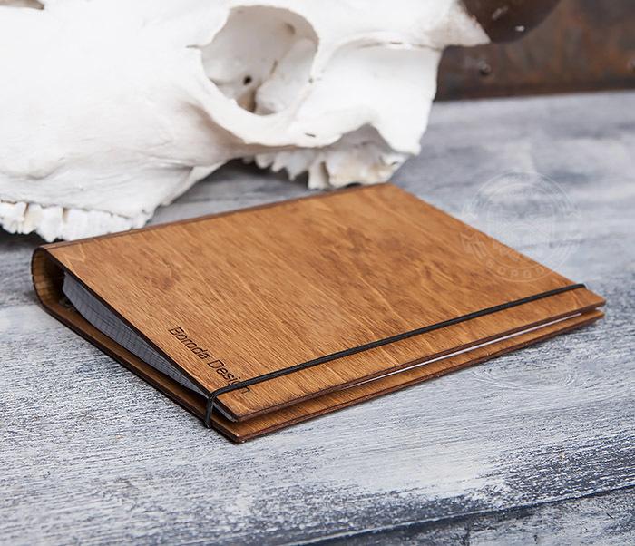 BC133-3 Деревянный блокнот ручной работы со сменным блоком фото 04