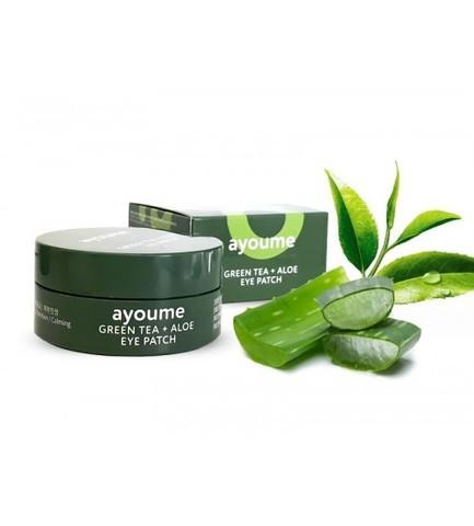 AYOUME Патчи для глаз от отечности с экстрактом зеленого чая и алоэ GREEN TEA+ALOE EYE PATCH 1,4гр*60 шт