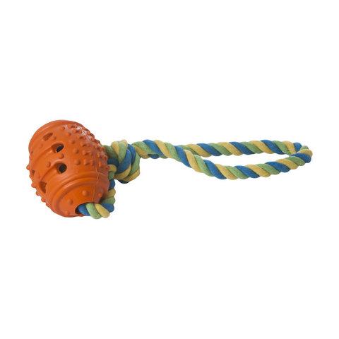 YUGI с резиновым мячом и отверстиями для корма оранжевая 8*32 см