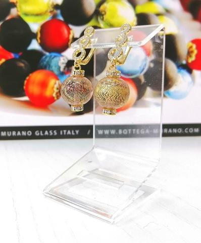 Серьги из муранского стекла со стразами Franchesca  Ca'D'oro Medio Amethyst Gold 040O