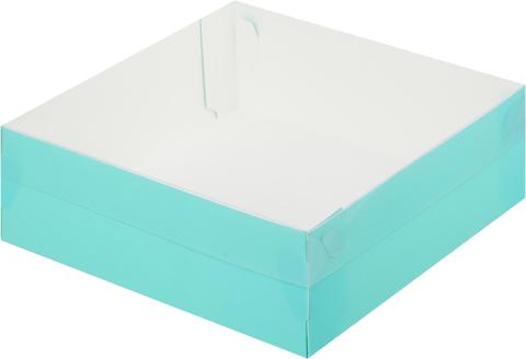 Коробка премиум с пластиковой крышкой, 20*20*7см (тиффани)