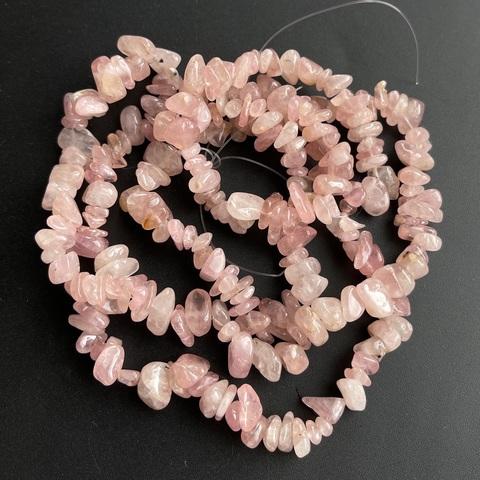 Бусины кварц розовый Мадагаскар галтовка нить 80 см