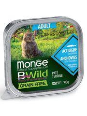 Беззерновые консервы для взрослых кошек, Monge Cat BWild GRAIN FREE, из анчоусов с овощами