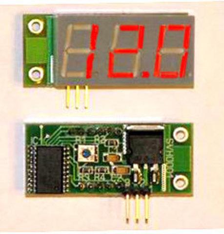 Миниатюрный цифровой встраиваемый вольтметр постоянного тока. Зеленый индикатор.