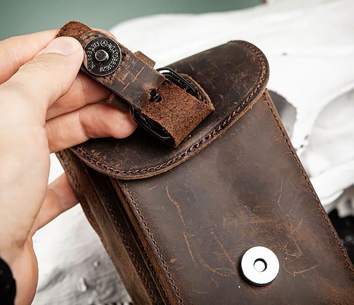 BAG498-2 Мужская кожаная сумка на пояс коричневого цвета фото 06