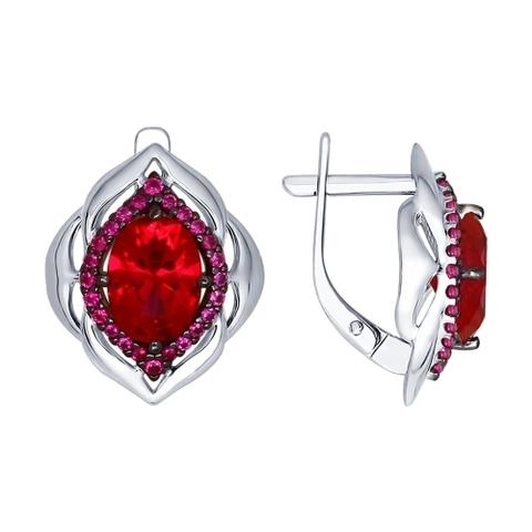 84020029 - Серьги из серебра с корундами рубиновыми (синт.) и красными фианитами