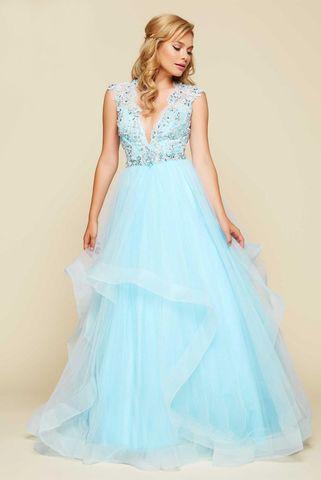 Mac Duggal 6334 Платье в пол, лиф украшен камнями, юбка длинная и пышная