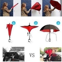 Ветрозащитный зонт-трость обратного сложения с двойным куполом