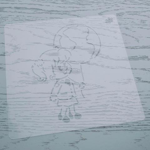 Трафарет Девочка с шаром