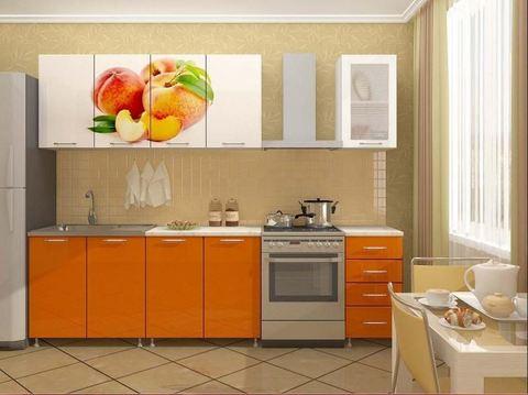 Кухня 1,8м Персик БТС Белый/фотопечать