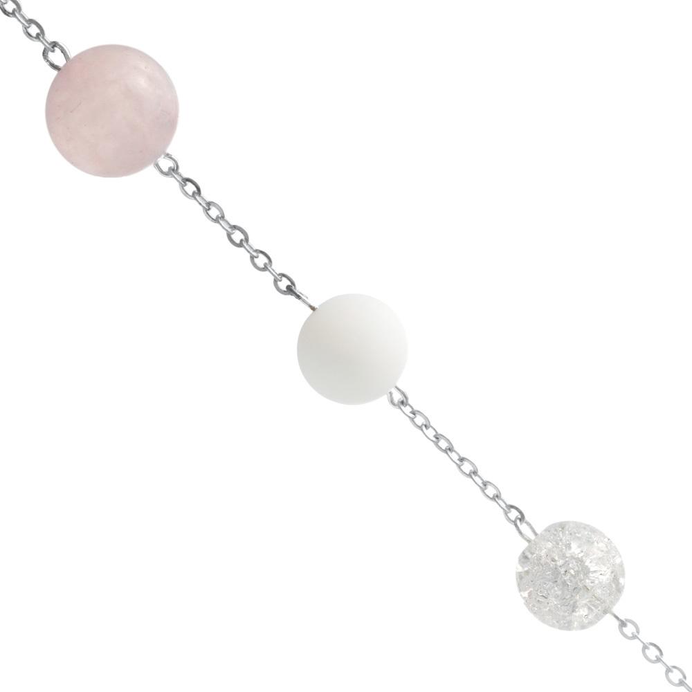 Сотуар из розового кварца, снежного кварца и агата