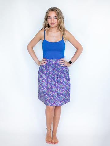 Юбка хлопковая сине-фиолетовая с узором