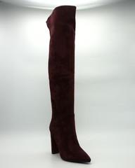 31ц Ботфорты бордовые на высоком каблуке