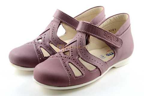 Туфли Тотто из натуральной кожи на липучке для девочек, цвет ирис фиолетовый. Изображение 6 из 12.