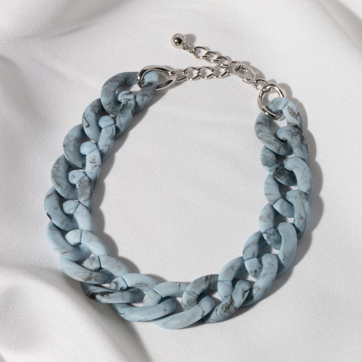 Колье-цепь из акриловых звеньев (голубой)