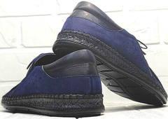 Мокасины из кожи мужские туфли спортивного стиля city casual Luciano Bellini 91268-S-321 Black Blue.