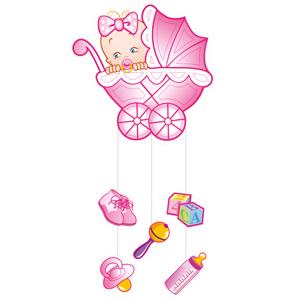 Подвеска С Днем Рождения Малыш розовая, 75х40 см